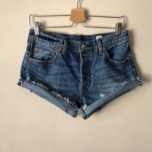 Levi's 501 White Oak Cone Denim Cutoff Shorts
